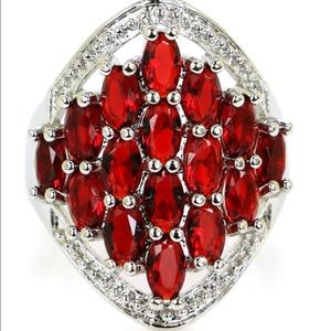 Sterling Silver.925 Red Blood Ruby & CZ Ring